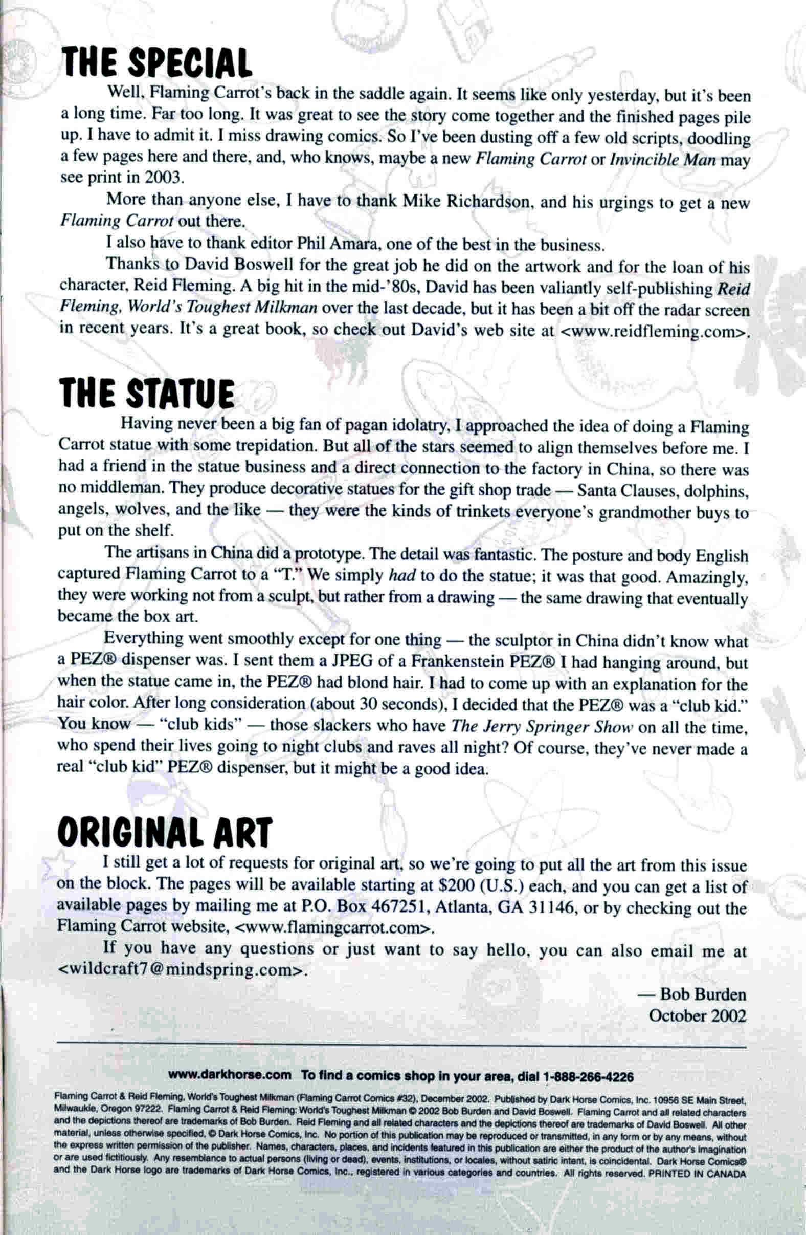 Read online Flaming Carrot & Reid Fleming, World's Toughest Milkman comic -  Issue # Full - 33