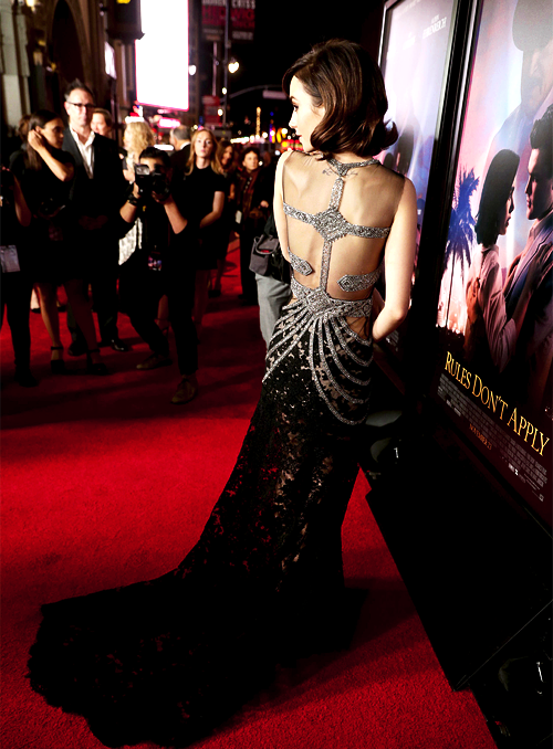 Lily Collins in Reem Acra at the Rules Don't Apply movie premiere