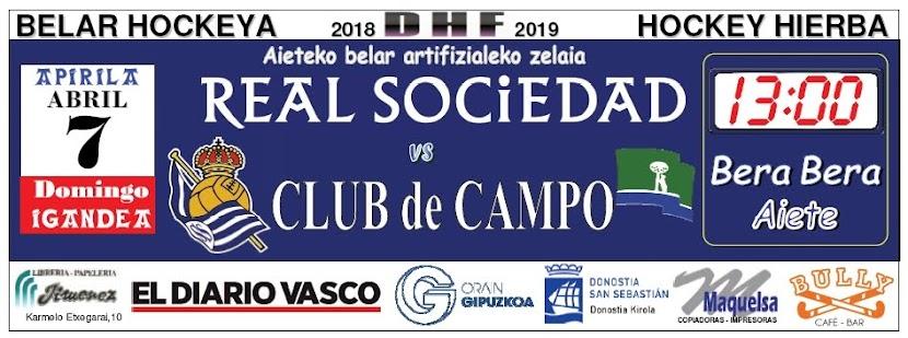 2019-04-07 Real Sociedad - CLUB de CAMPO. Faldón publicado en Pág. 90 del DV del domingo 7.