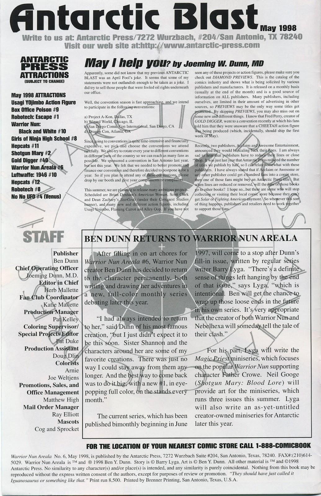 Warrior Nun Areala (1997) Issue #6 #6 - English 2