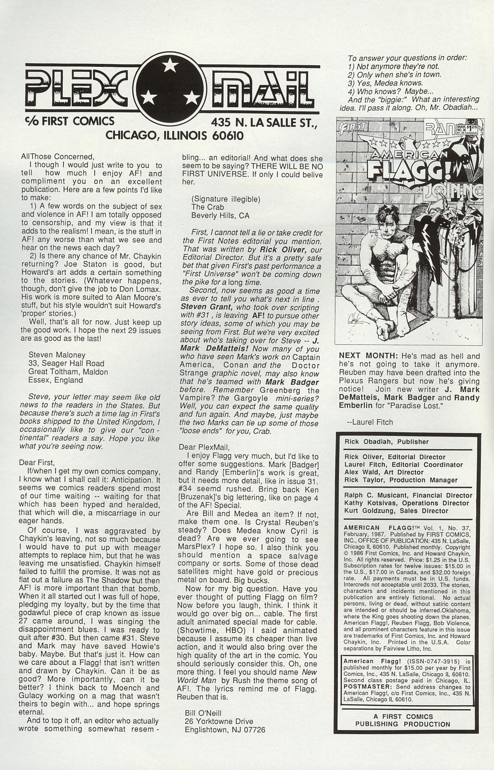 Read online American Flagg! comic -  Issue #37 - 2