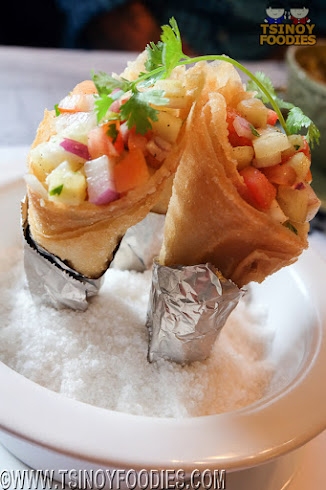 crisp cones with crab corn tomatoes