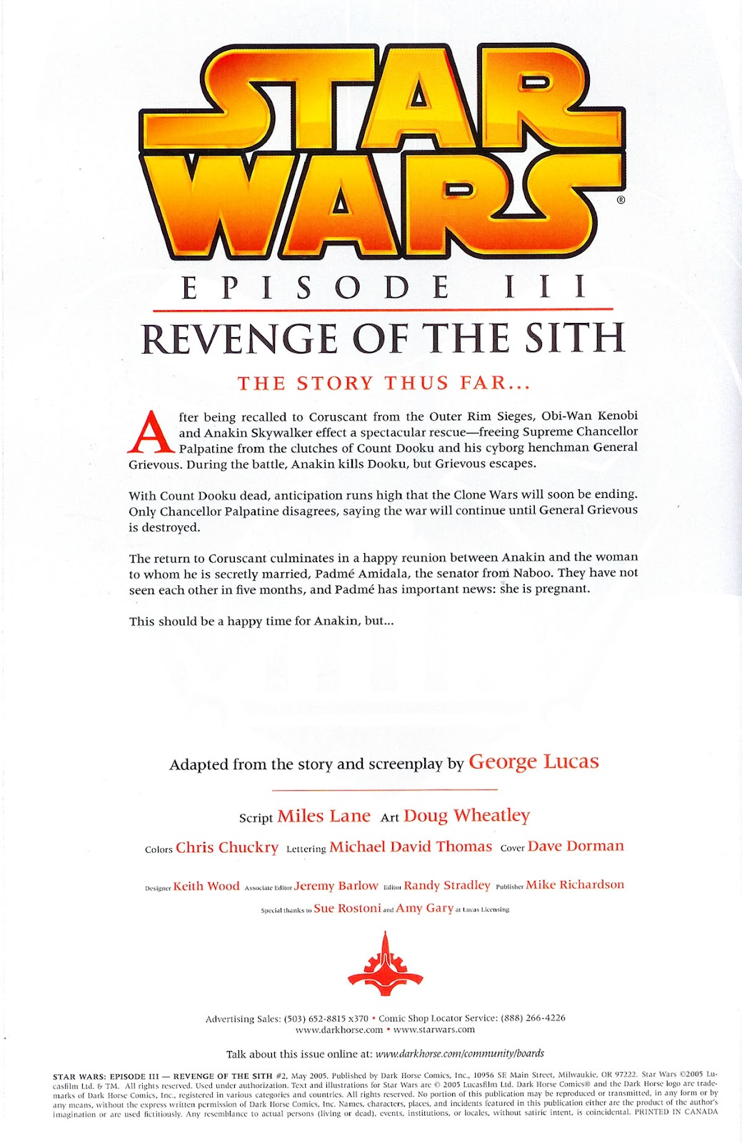 Comic Star Wars Episode Iii Revenge Of The Sith 2005 Issue 2