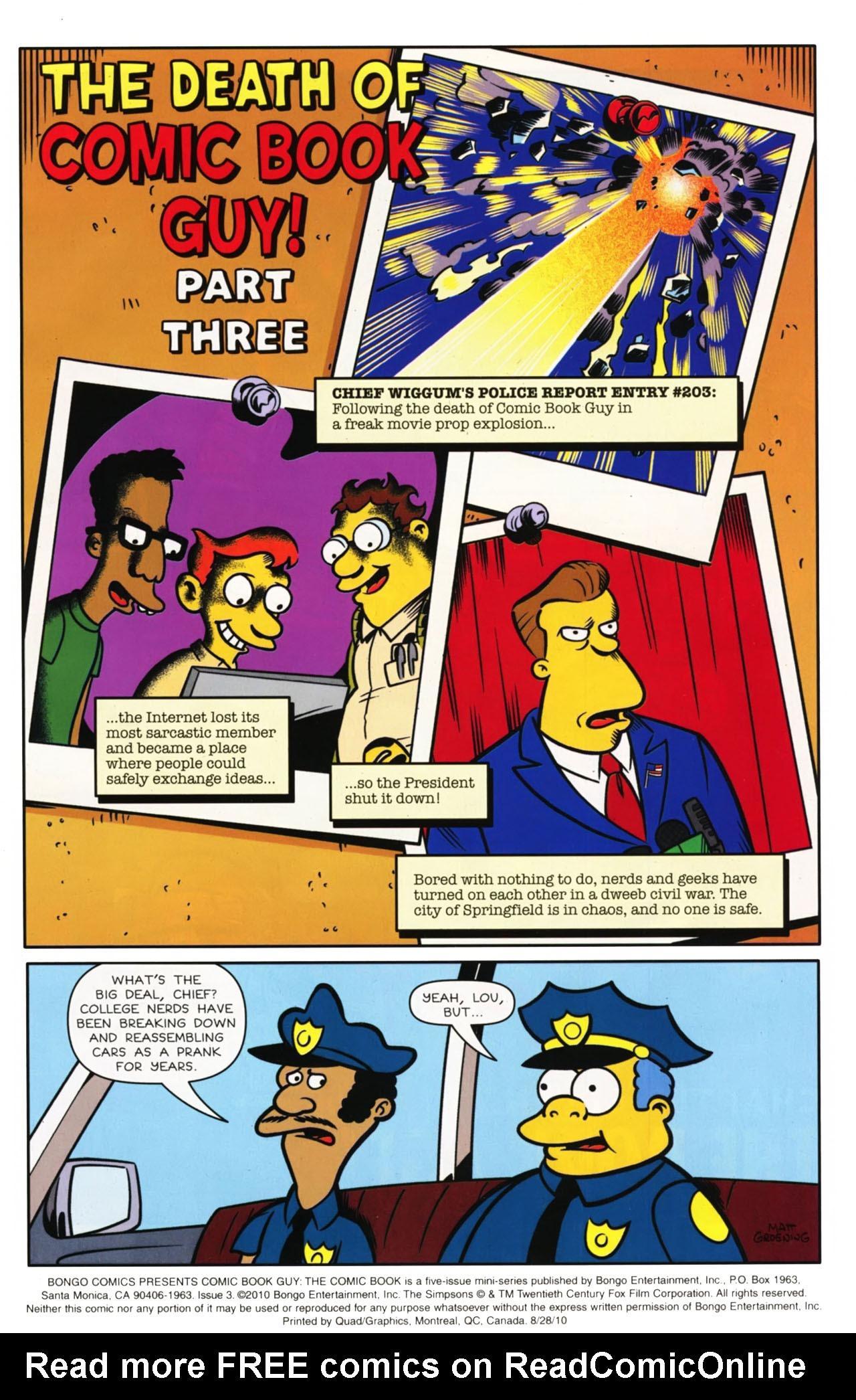Read online Bongo Comics presents Comic Book Guy: The Comic Book comic -  Issue #3 - 2
