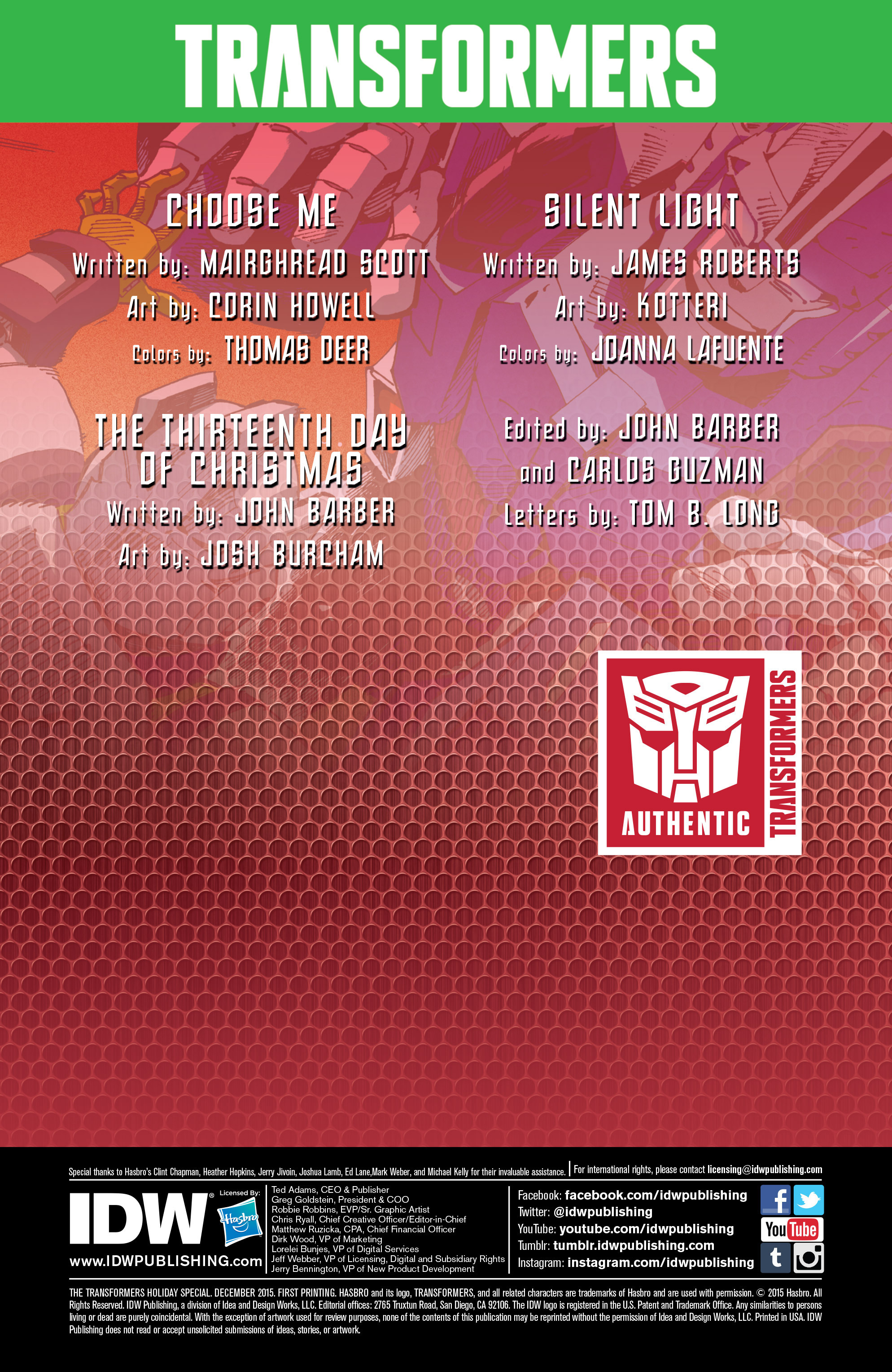 Read online Transformers: Holiday Special comic -  Issue # Full - 2