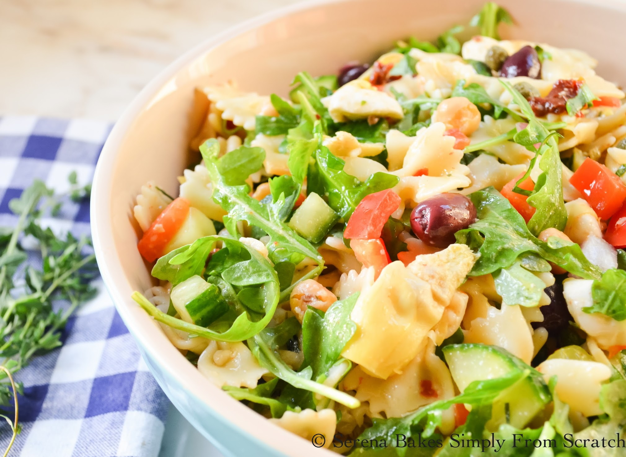 Mediterranean Pasta Salad is full of flavor with fresh herbs. | www.serenabakessimplyfromscratch.com