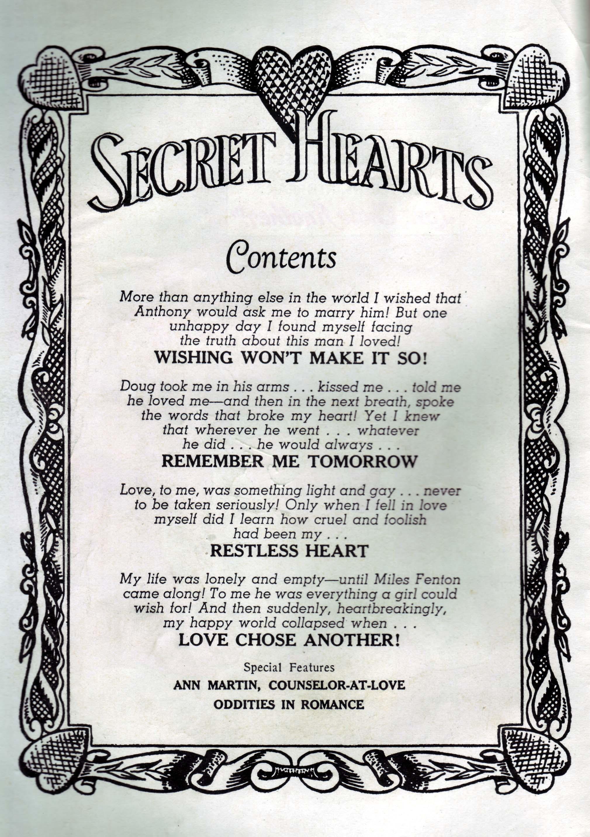 Read online Secret Hearts comic -  Issue #33 - 2