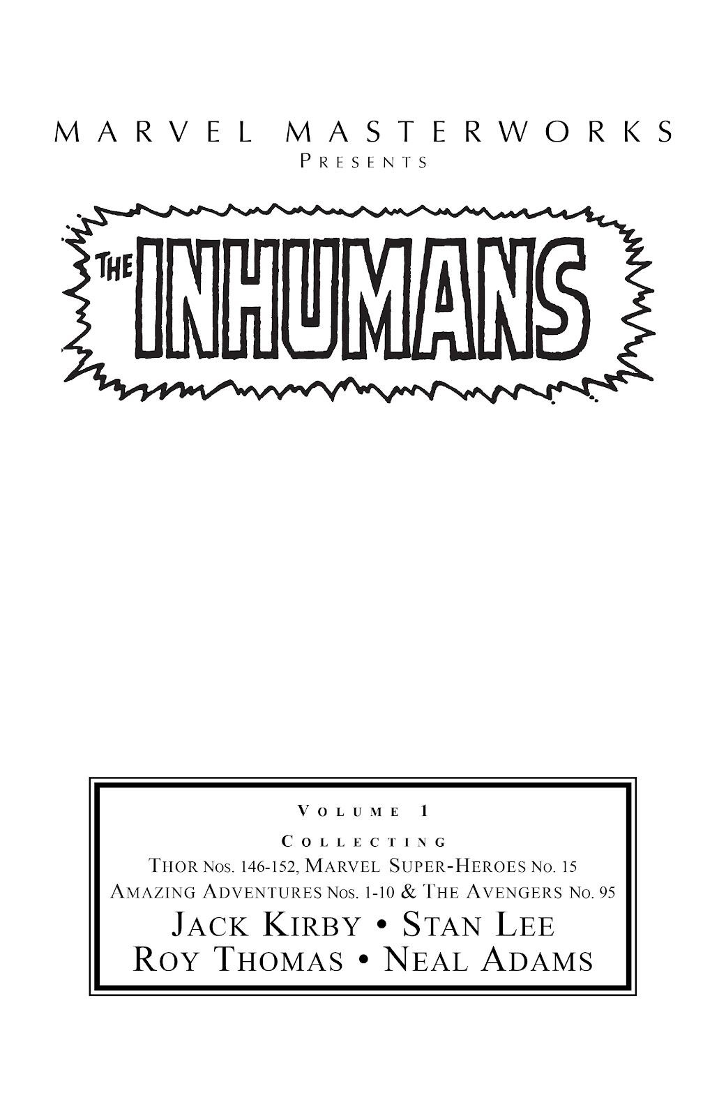 Read online Marvel Masterworks: The Inhumans comic -  Issue # TPB 1 (Part 1) - 2