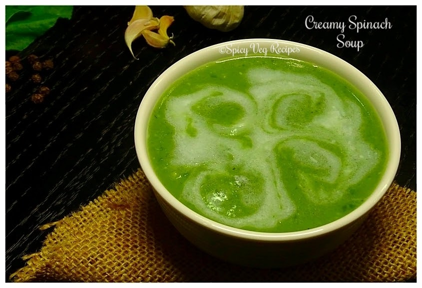 Spinach-Soup-Palak Soup-veg-Recipes