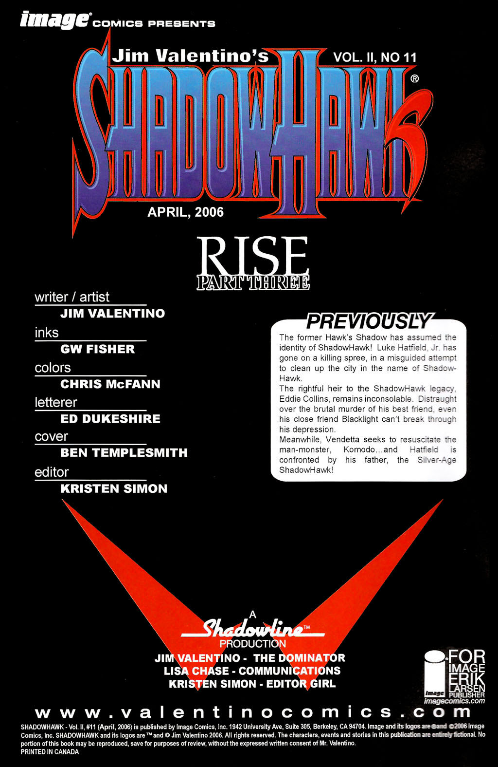 Read online ShadowHawk (2005) comic -  Issue #11 - 2