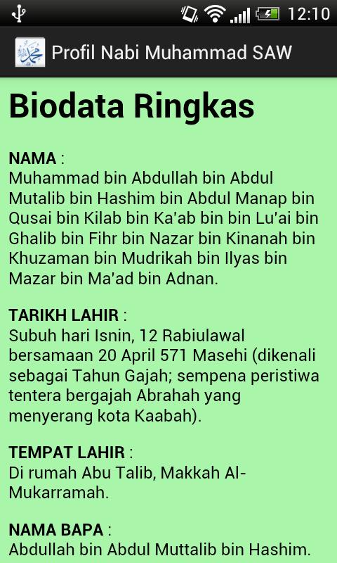 Nur Alis Arina Biodata Nabi Muhammad Saw