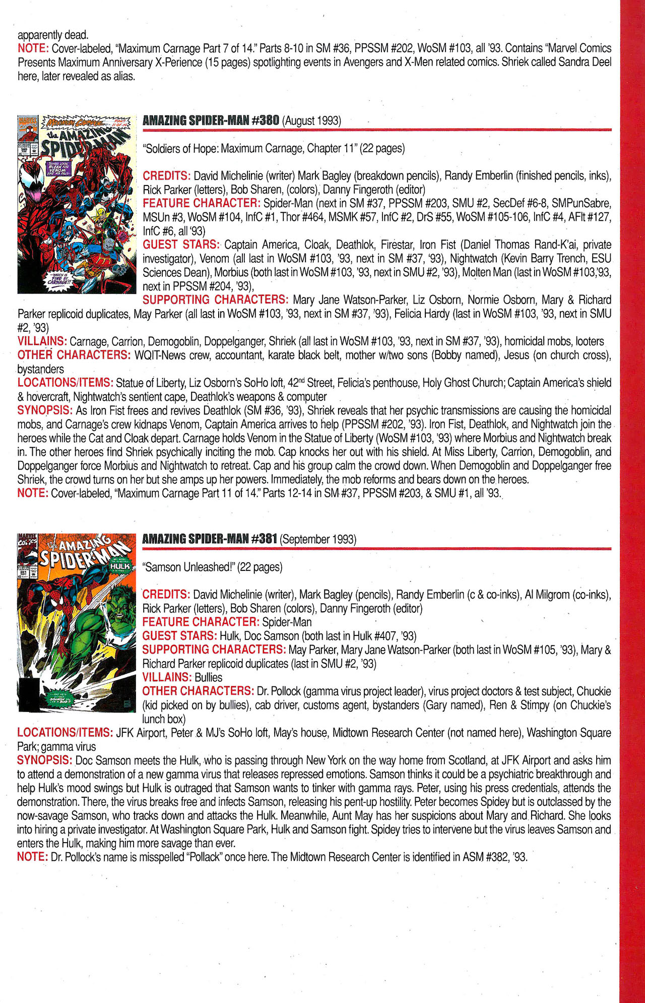 Read online Official Index to the Marvel Universe comic -  Issue #9 - 11