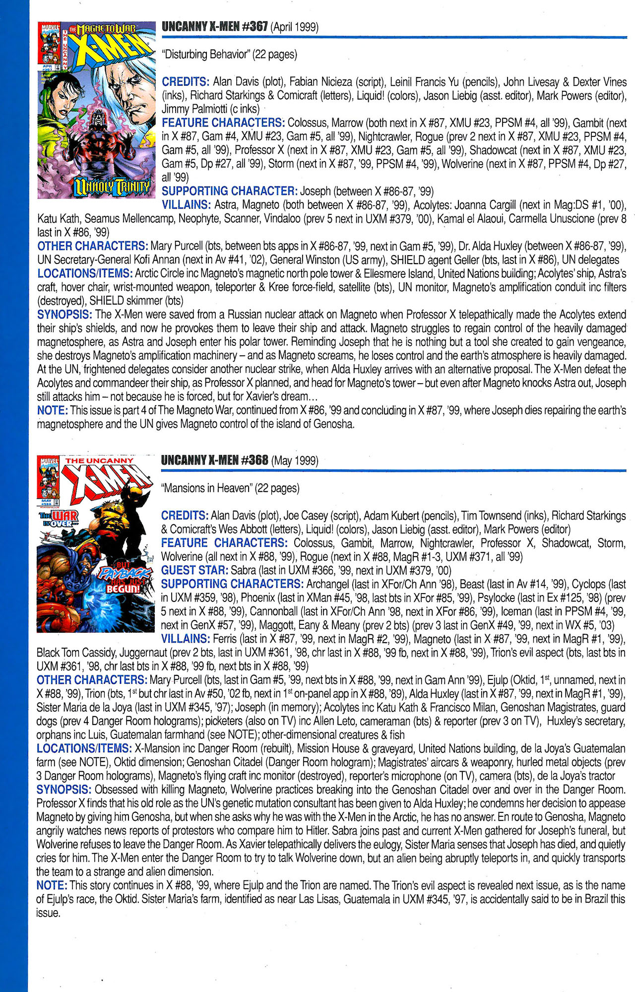 Read online Official Index to the Marvel Universe comic -  Issue #9 - 62