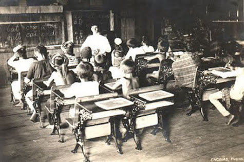 A classroom scene during the American era.  Image source:  Philippines from 1900-1915.