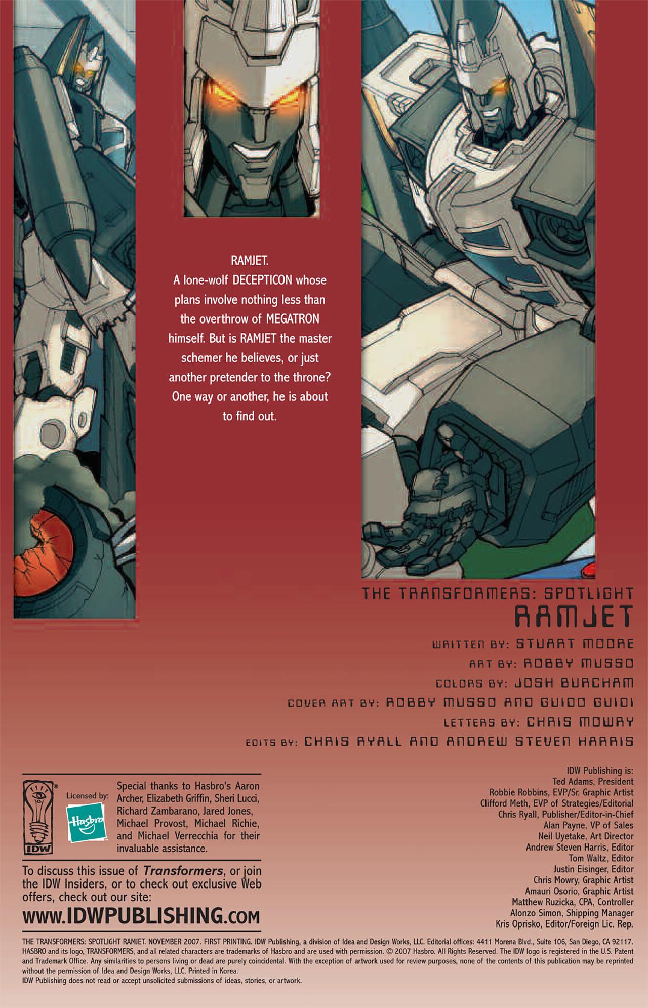 Read online Transformers Spotlight: Ramjet comic -  Issue # Full - 2