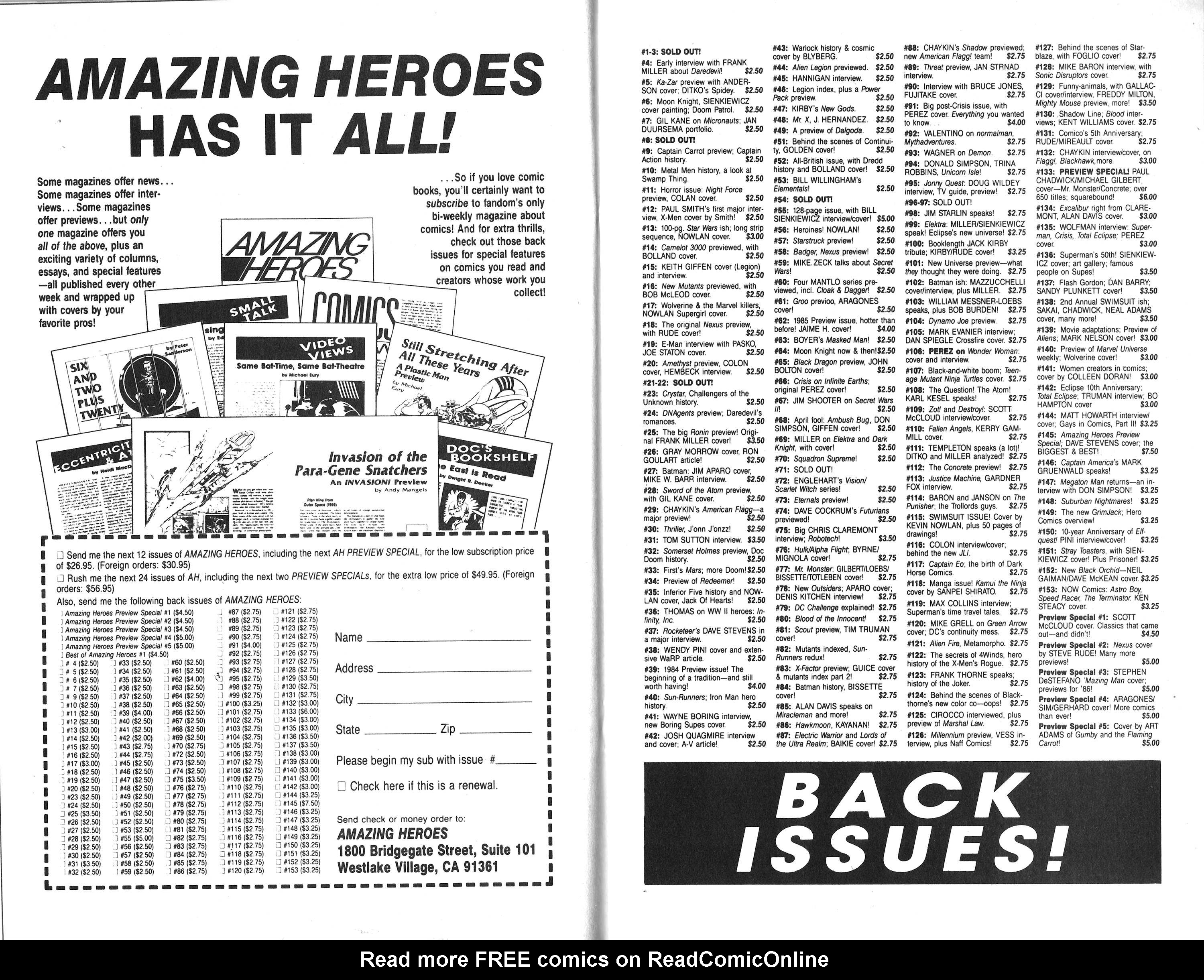 Read online Amazing Heroes comic -  Issue #155 - 20