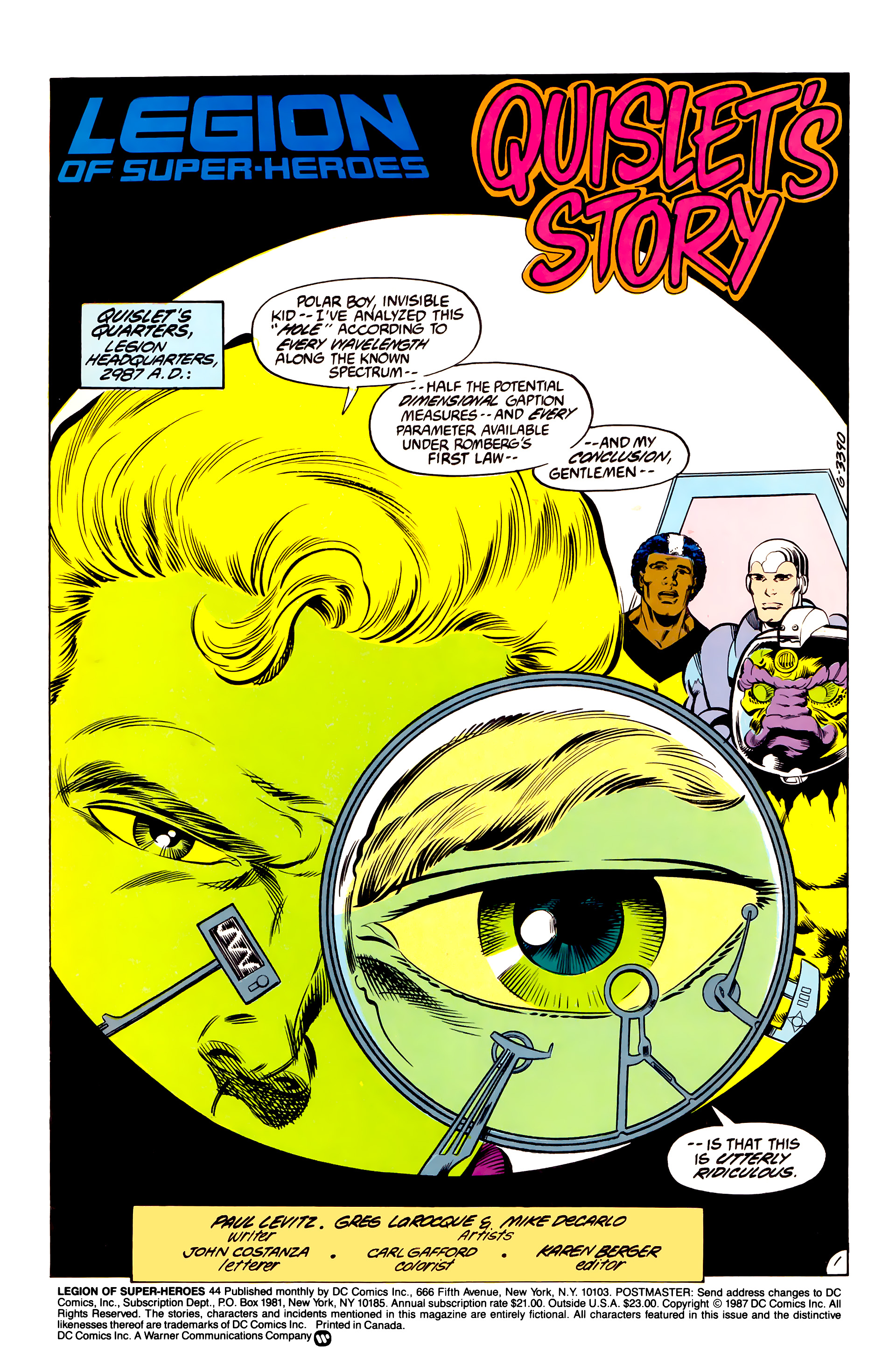 Legion of Super-Heroes (1984) 44 Page 1