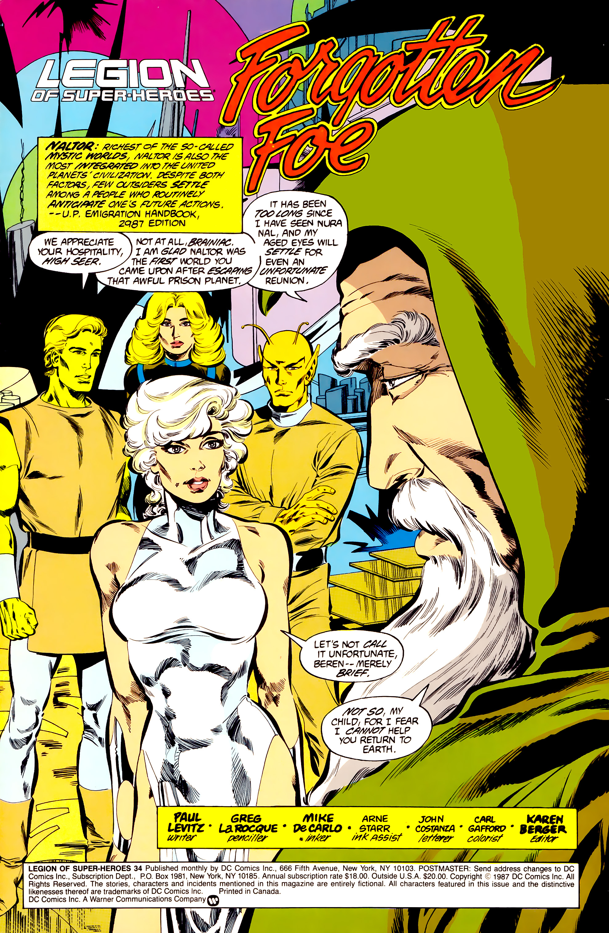 Legion of Super-Heroes (1984) 34 Page 1
