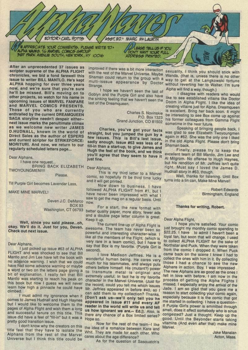Read online Alpha Flight (1983) comic -  Issue #66 - 30