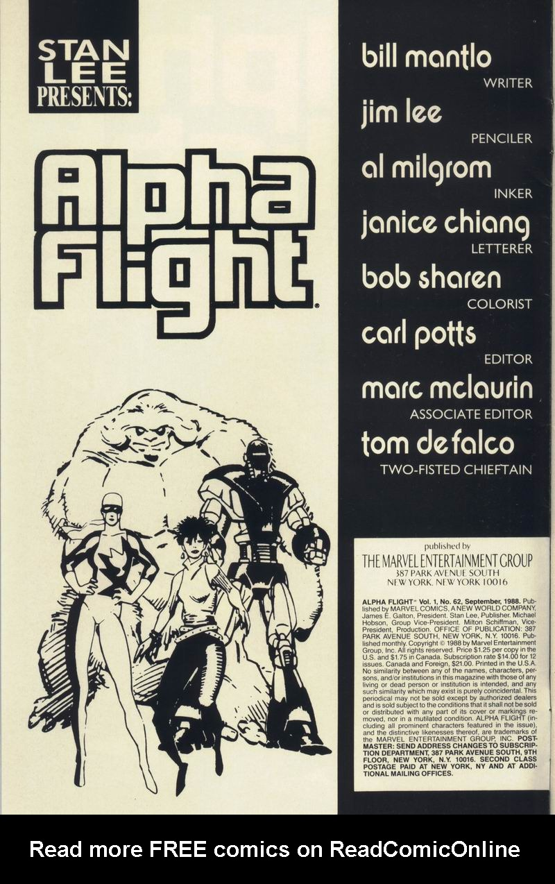 Read online Alpha Flight (1983) comic -  Issue #62 - 2