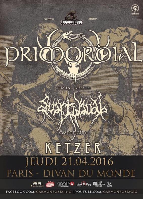 Primordial / Svartidauði / Ketzer @Divan du Monde, Paris 21/04/2016