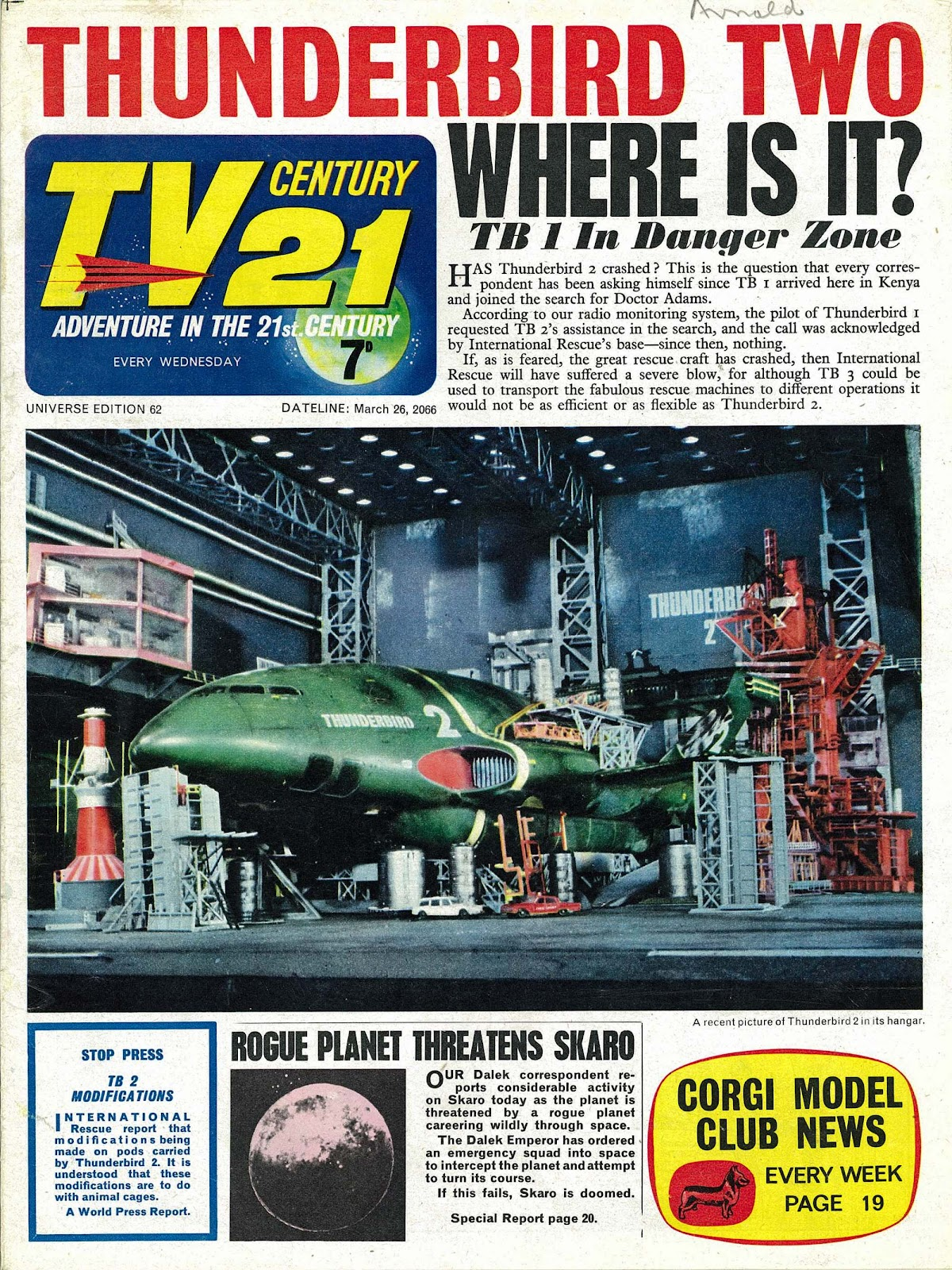 TV Century 21 (TV 21) issue 62 - Page 1