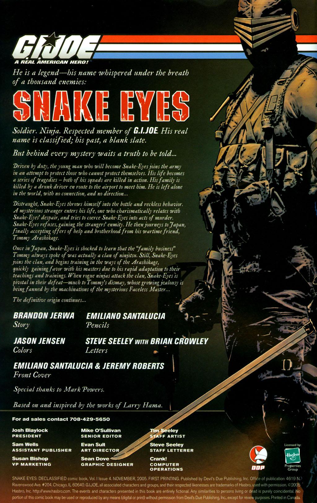 Read online Snake Eyes: Declassified comic -  Issue #4 - 2