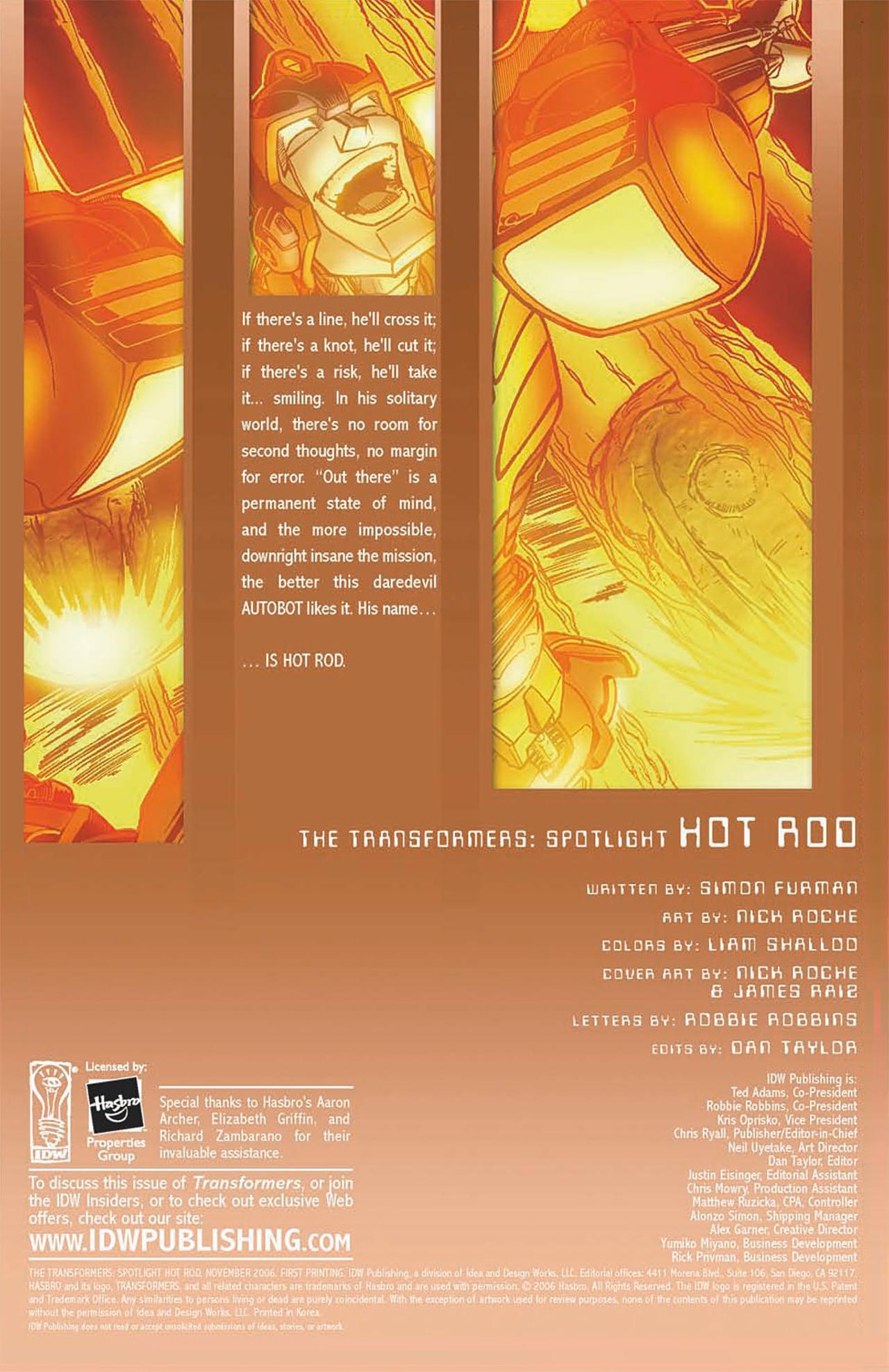 Read online Transformers Spotlight: Hot Rod comic -  Issue # Full - 2
