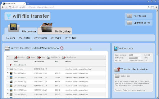 wifi file transfer chrome window