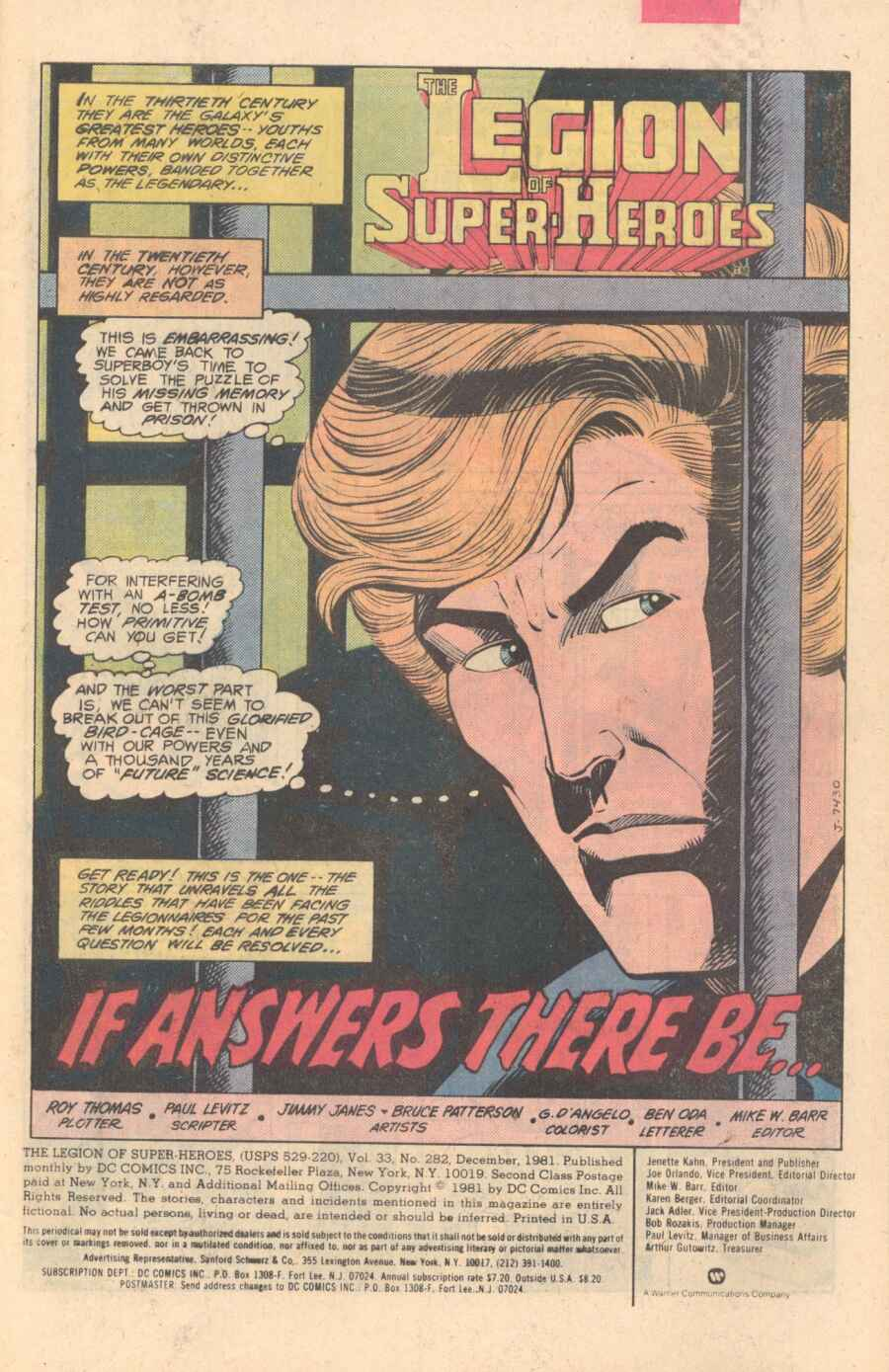 Legion of Super-Heroes (1980) 282 Page 1