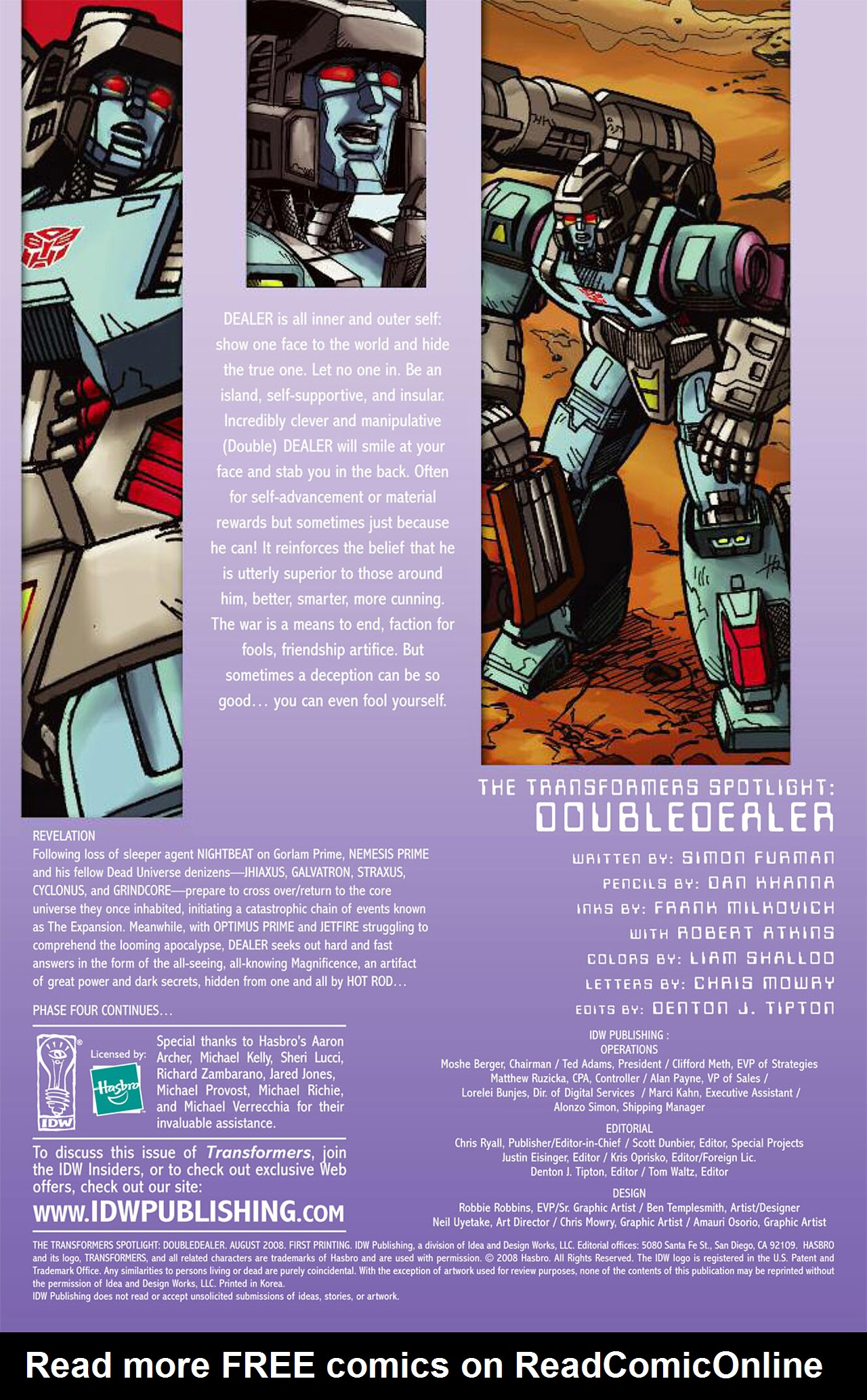Read online Transformers Spotlight: Doubledealer comic -  Issue # Full - 3