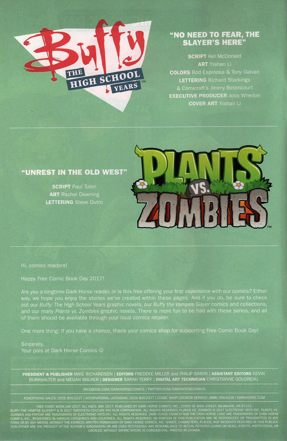Read online Free Comic Book Day 2017 comic -  Issue # Buffy - Plants vs Zombies - 2