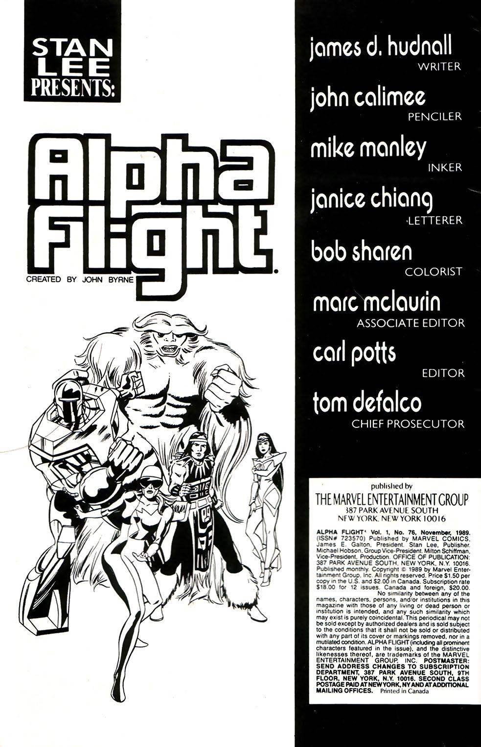 Read online Alpha Flight (1983) comic -  Issue #76 - 2