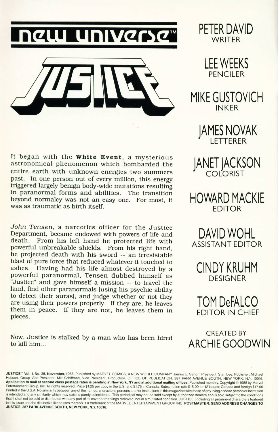 Read online Justice (1986) comic -  Issue #25 - 2