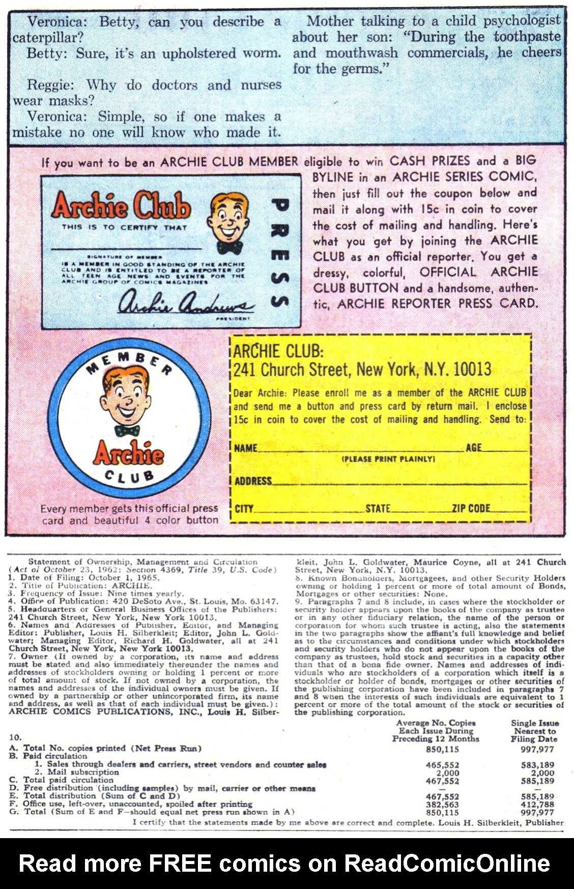 Read online Archie (1960) comic -  Issue #164 - 11