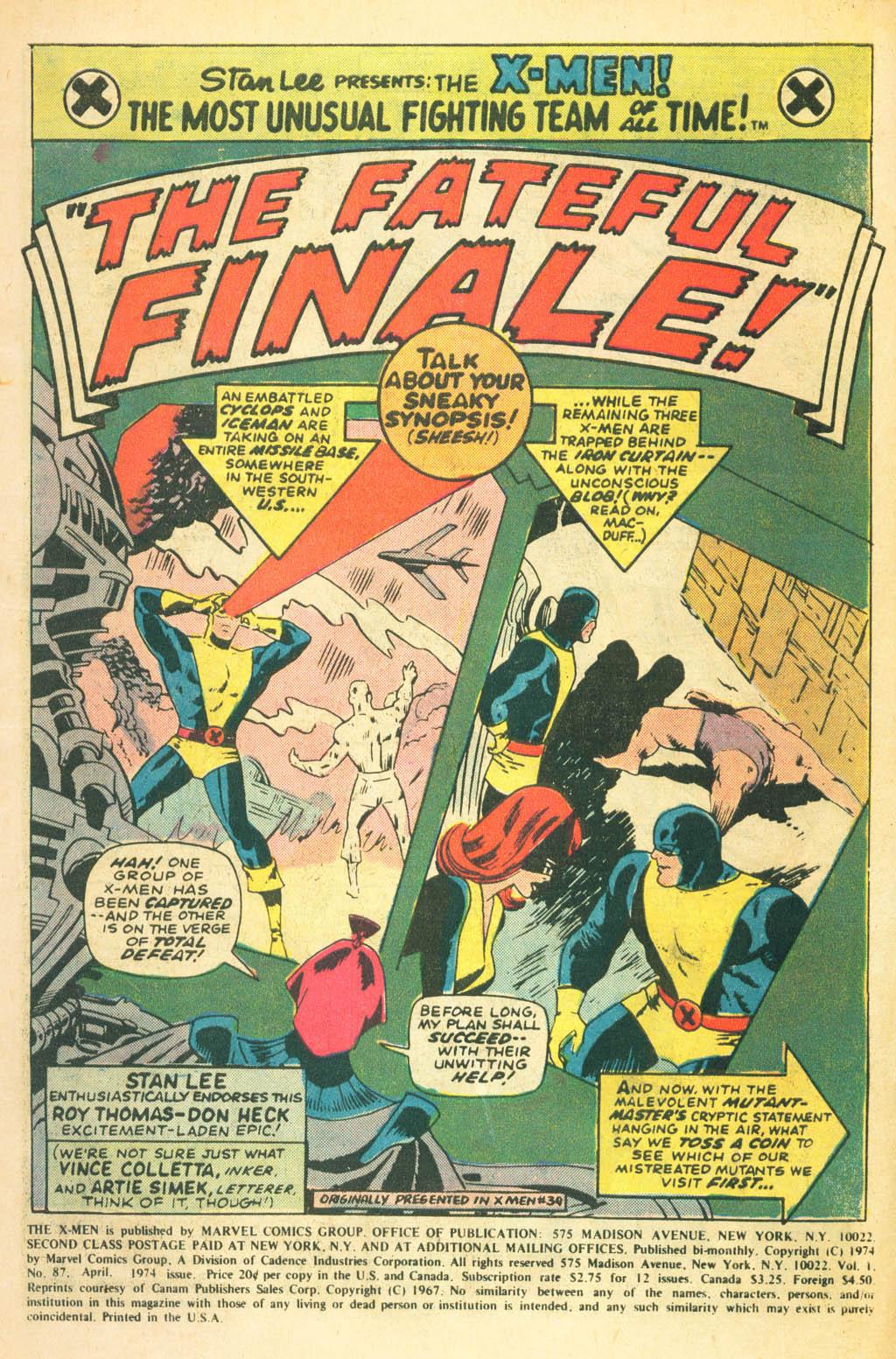 Read online Uncanny X-Men (1963) comic -  Issue #87 - 3