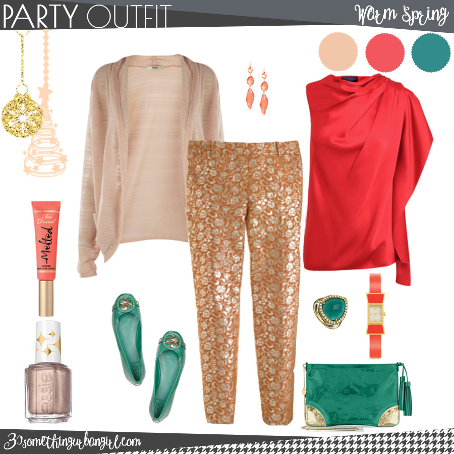 Lovely family Christmas party outfit for Warm Spring seasonal color women