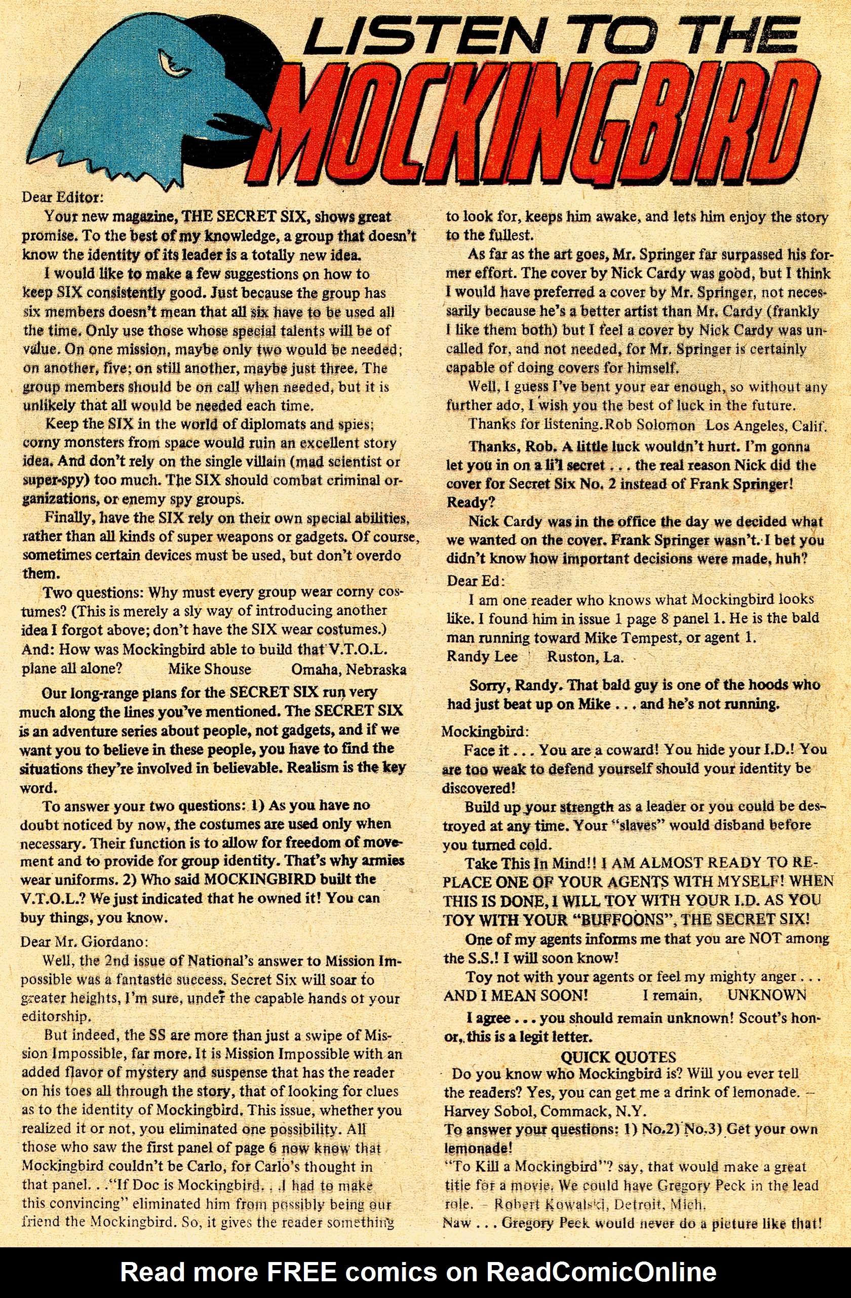 Read online Secret Six (1968) comic -  Issue #4 - 31