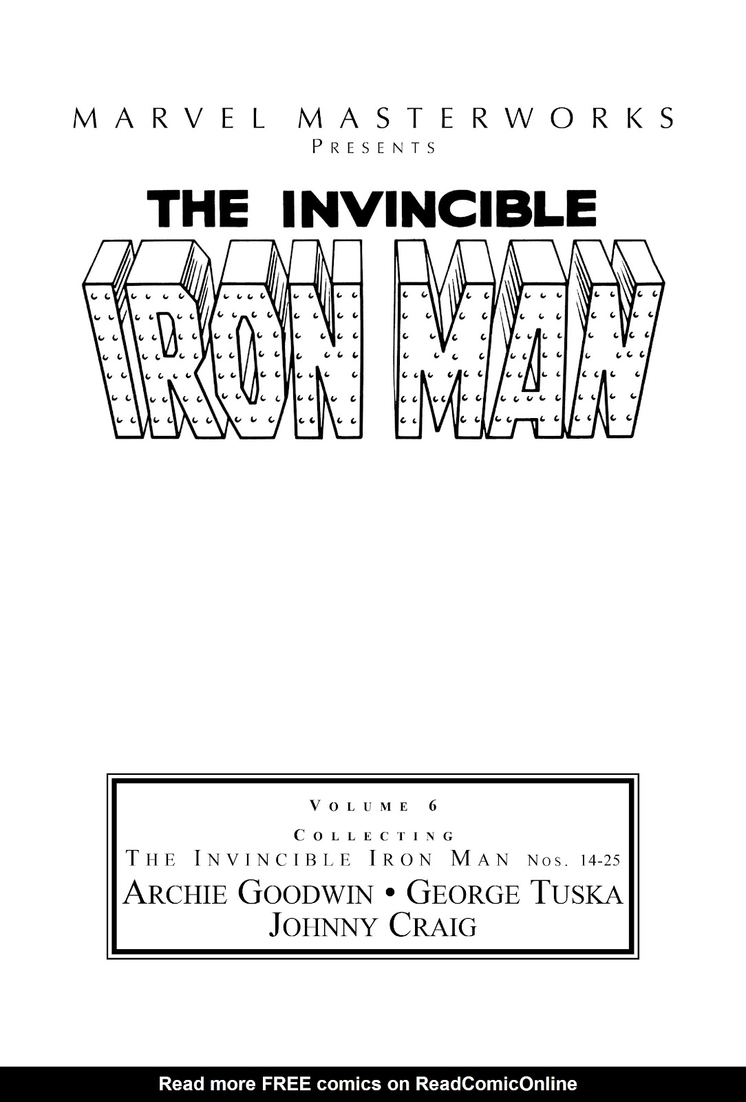 Read online Marvel Masterworks: The Invincible Iron Man comic -  Issue # TPB 6 (Part 1) - 2