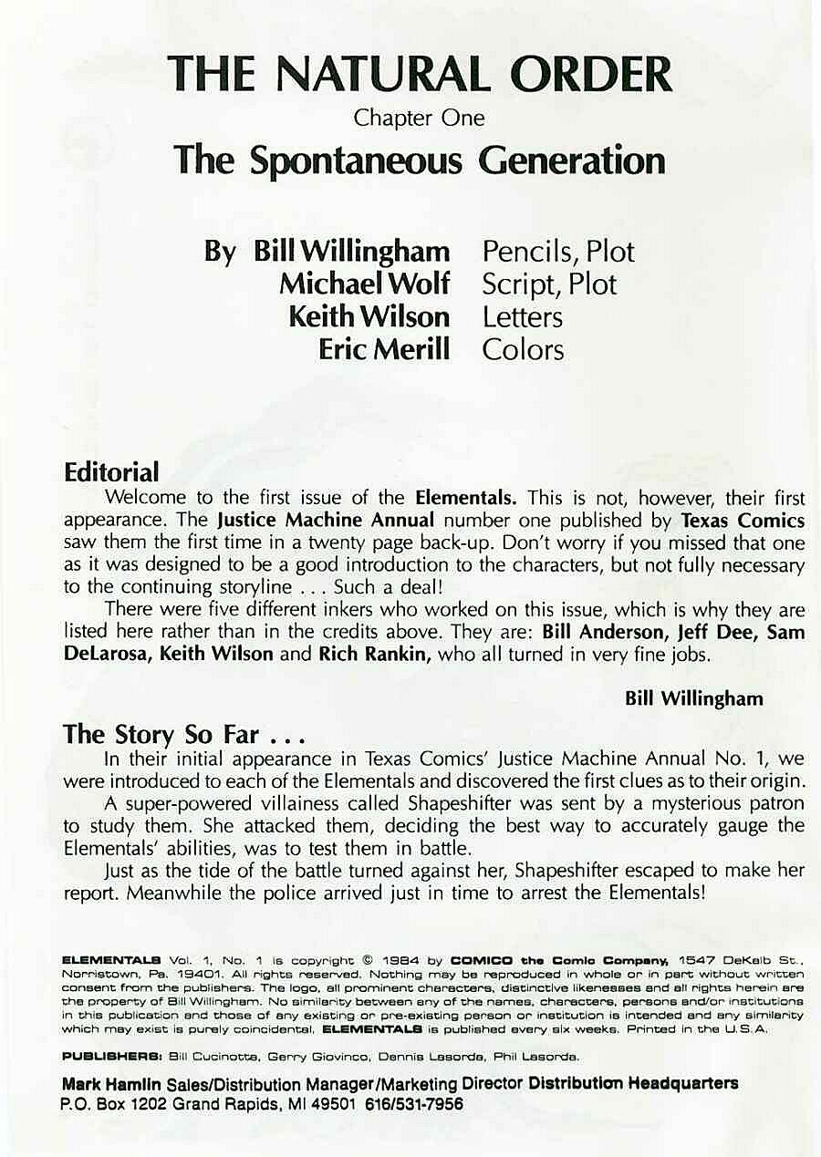 Elementals (1984) issue 1 - Page 2