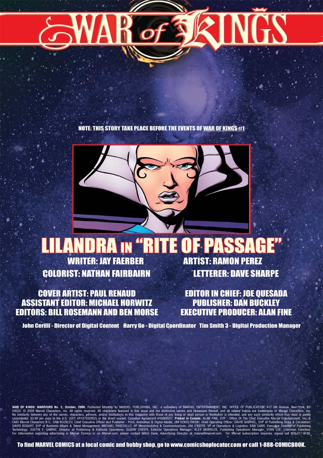 Read online War of Kings: Warriors - Lilandra comic -  Issue #1 - 2
