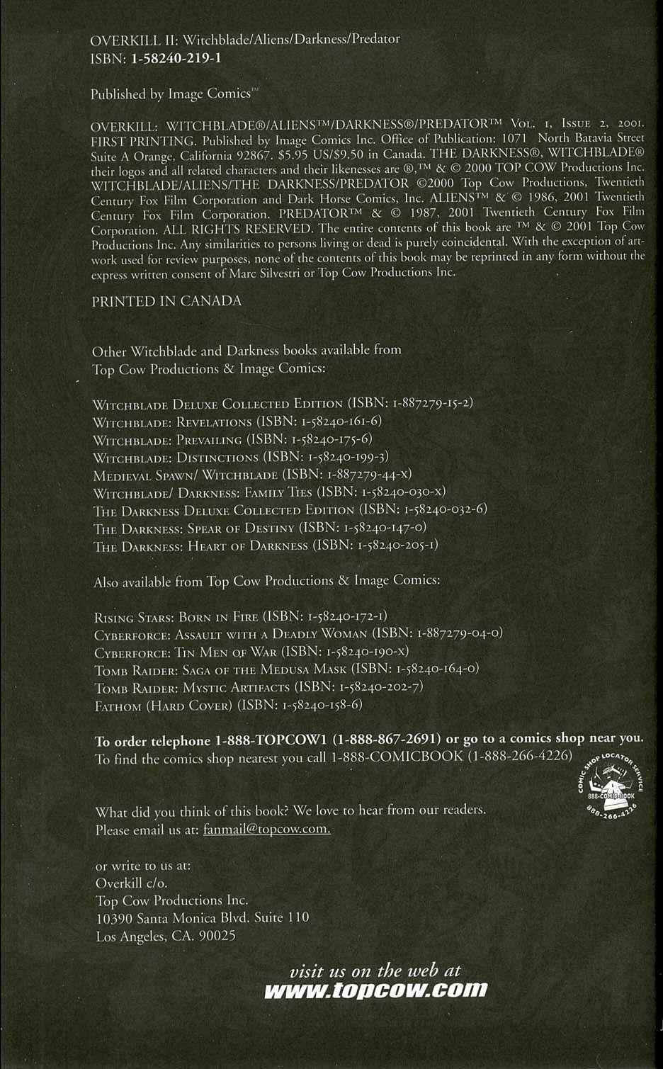 Read online Overkill: Witchblade/Aliens/Darkness/Predator comic -  Issue #2 - 2