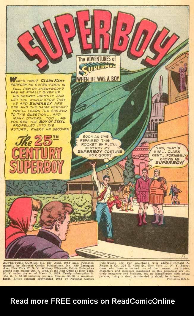 Read online Adventure Comics (1938) comic -  Issue #187 - 3