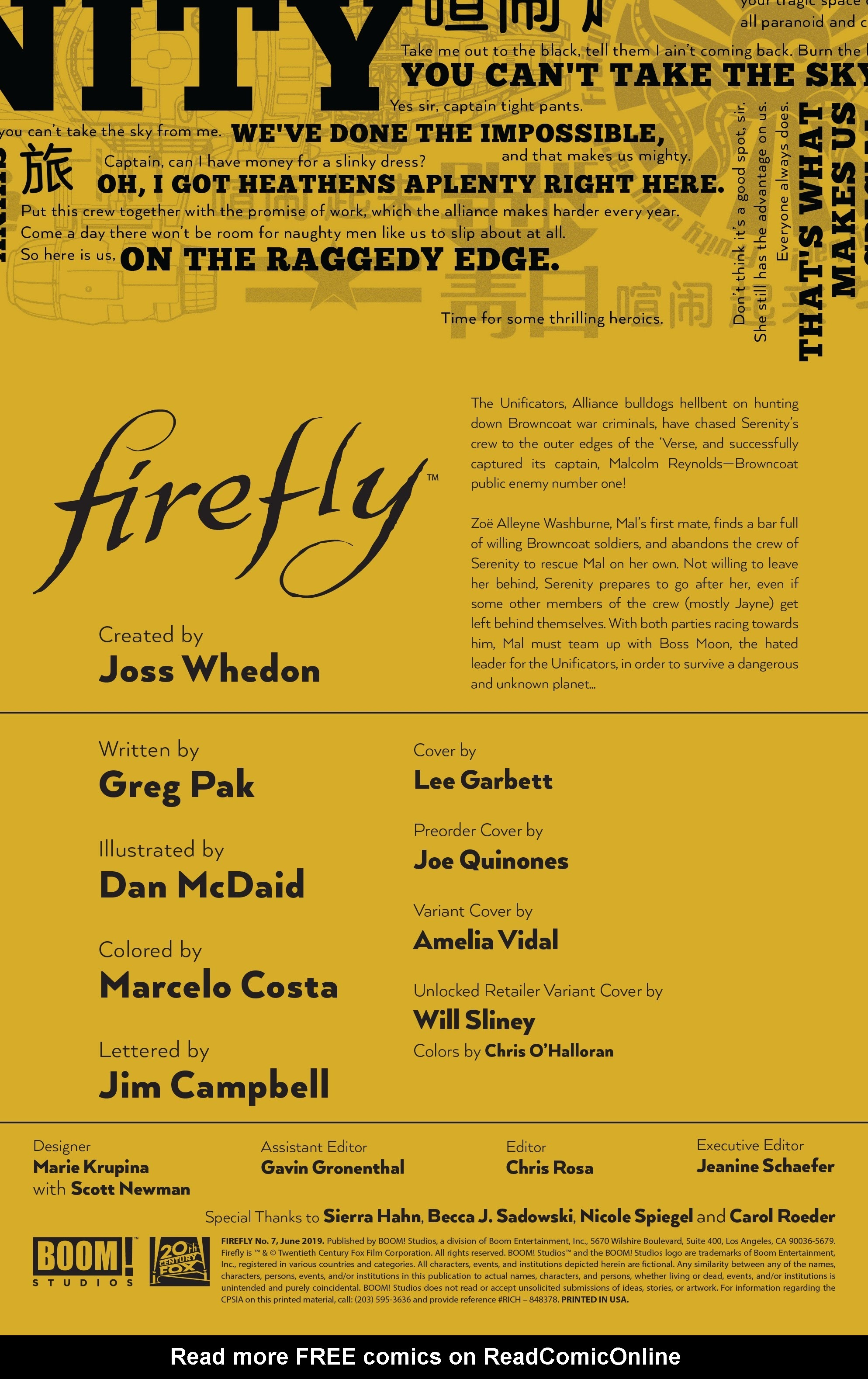 Read online Firefly comic -  Issue #7 - 2