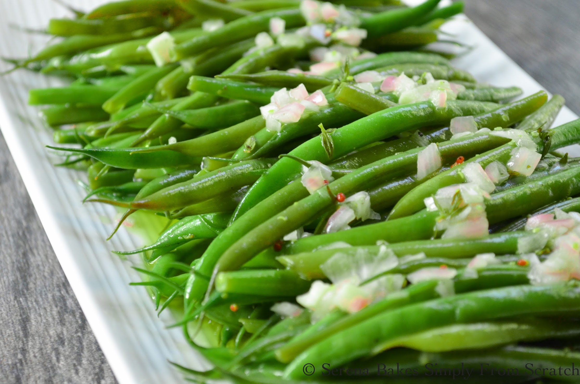 Green Bean Salad With Grainy Dijon Shallot Vinaigrette elegant enough for company but simple enough for any night!