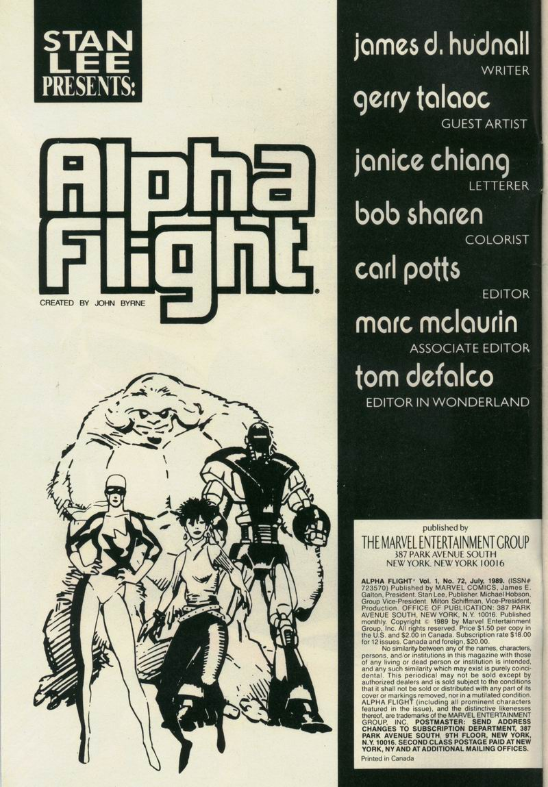 Read online Alpha Flight (1983) comic -  Issue #72 - 2