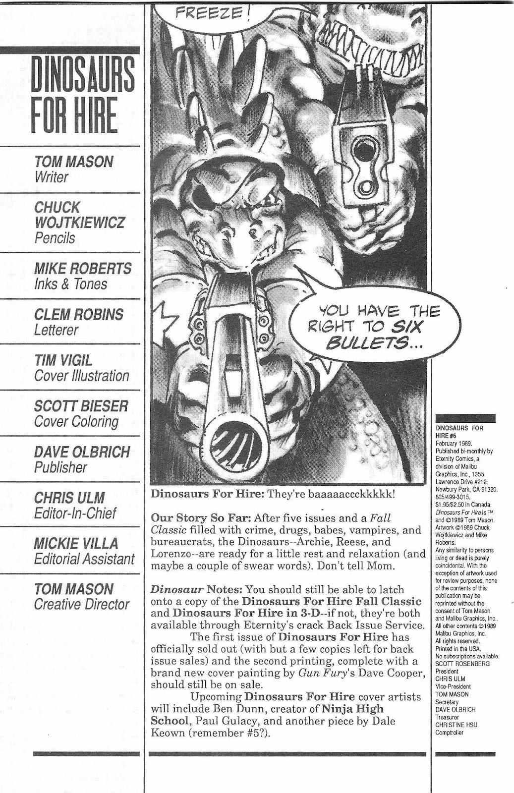 Dinosaurs For Hire (1988) issue 6 - Page 2