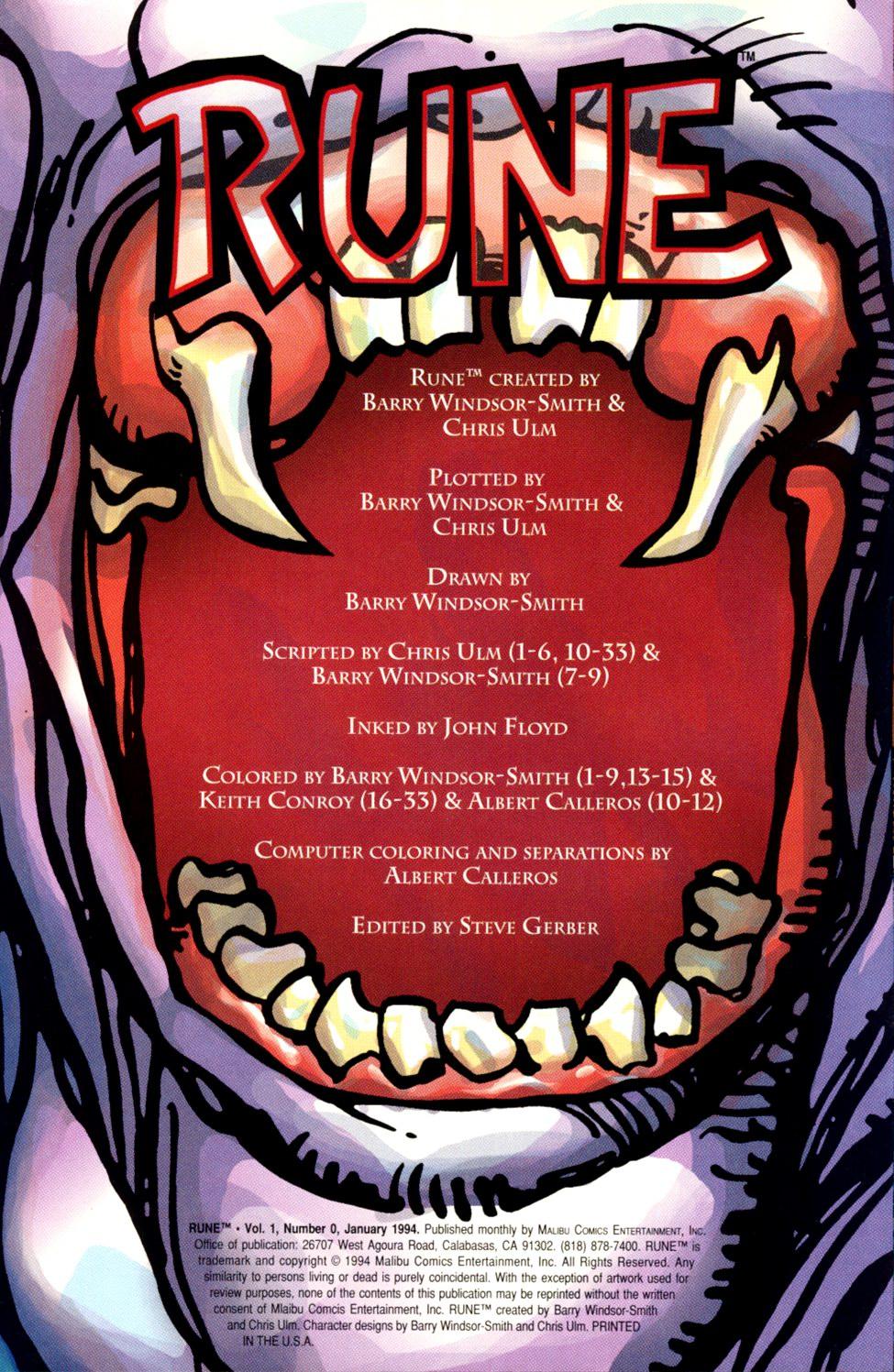 Read online Rune (1994) comic -  Issue #0 - 2