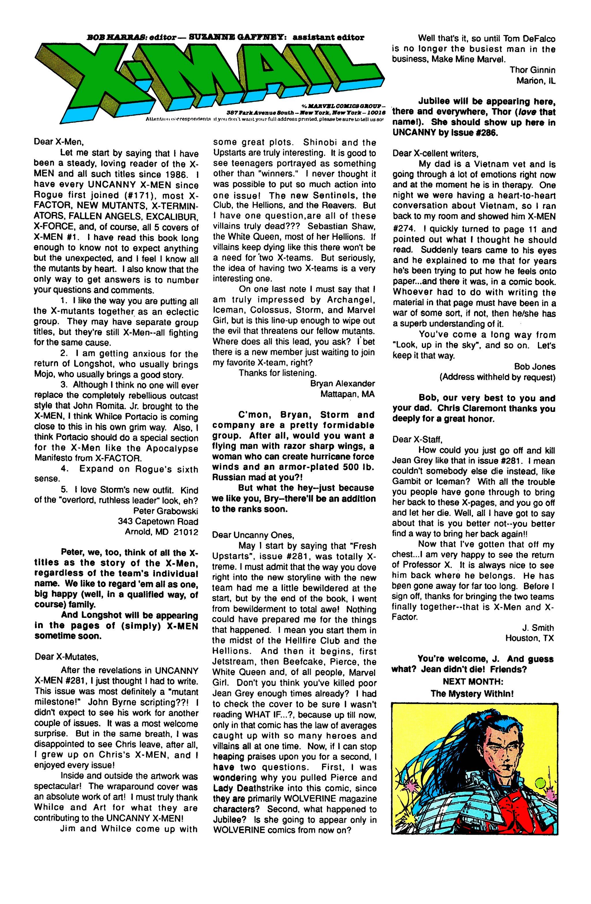 Read online Uncanny X-Men (1963) comic -  Issue #284 - 23