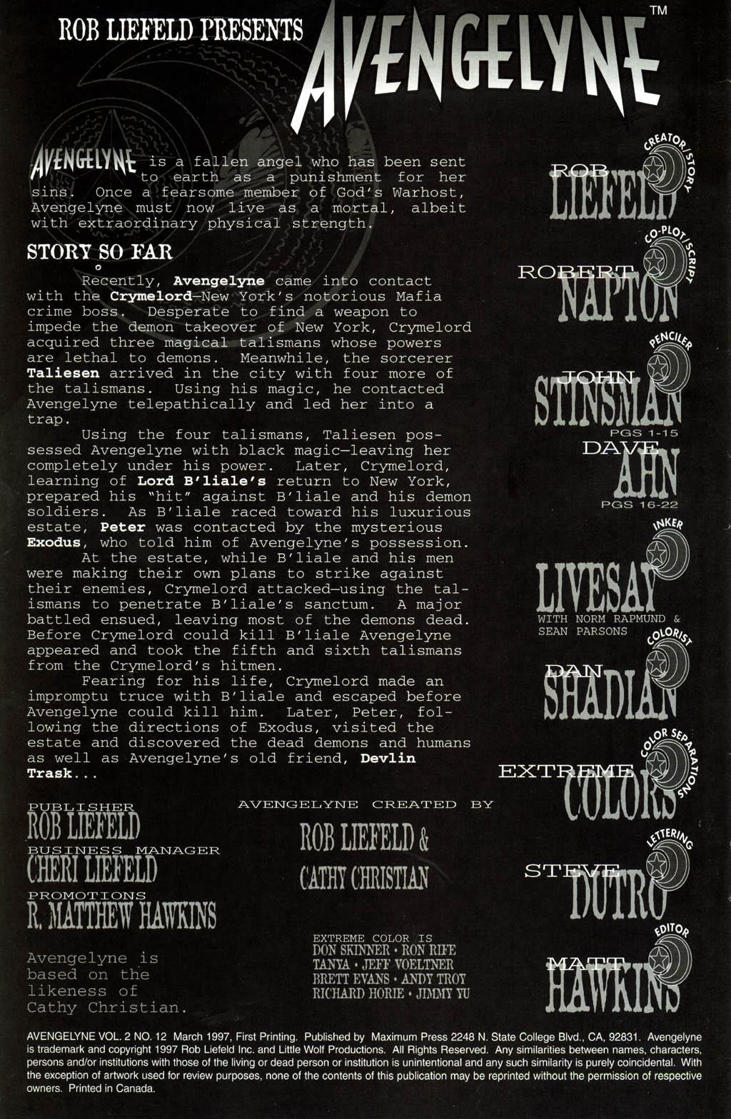 Read online Avengelyne (1996) comic -  Issue #12 - 2